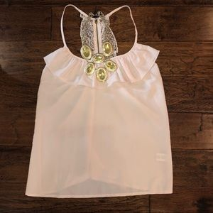 Light Pink Ruffle Tank-L